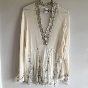 Johnny Was | Cream, Black Silk Embroidered Blouse